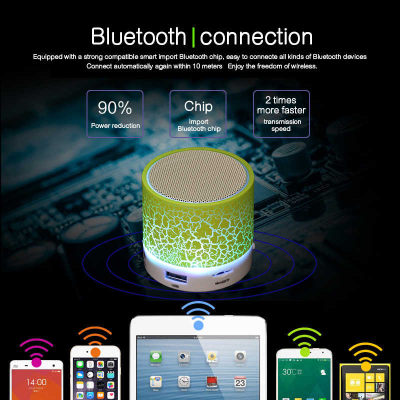 Mini Wireless Portable Bluetooth Speaker With LED and Build-in Mic Support AUX TF for iPhone iPod Android BT Blutooth Speaker