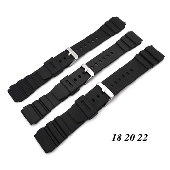 Silicone Rubber Watch Strap Band Deployment Buckle Diver Waterproof 18mm 22mm image