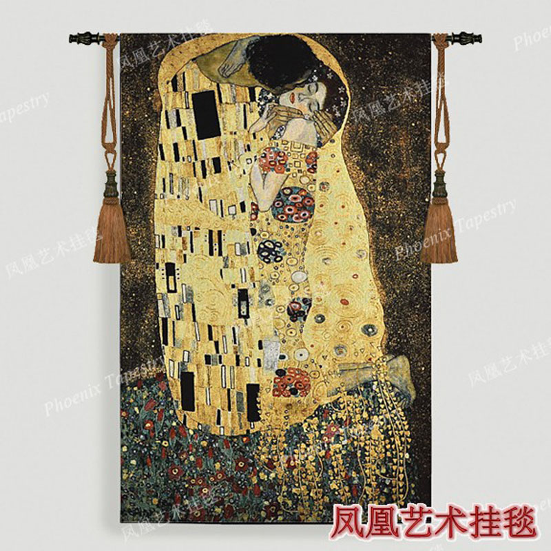 Gustav Klimt-bacio regalo di Nozze Simbolo di amore appeso A Parete arazzo 139*89 cm del Vestito delle donne di Casa jacauard tessuto tessili per la H119