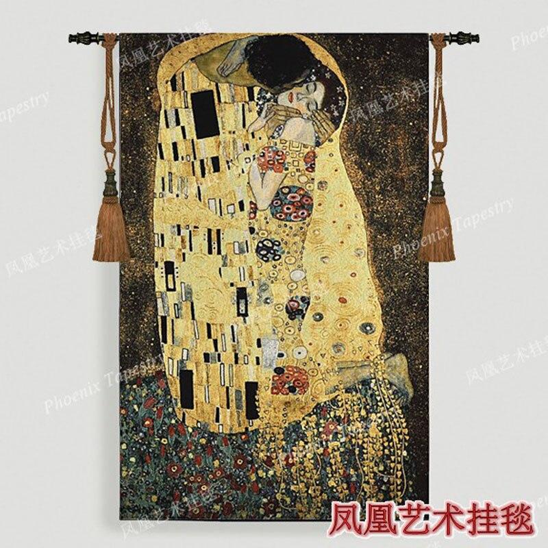 Gustav Klimt - kiss Wedding gift Symbol of love Wall hanging tapestry 139*89cm Dress women Home jacauard fabric textile H119Gustav Klimt - kiss Wedding gift Symbol of love Wall hanging tapestry 139*89cm Dress women Home jacauard fabric textile H119