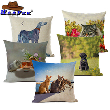 Cartoon Animal Pattern Printed Waist Cushion Cover Lovely Puppy Cotton Linen Home Car Decoration Throw Pillow Case все цены