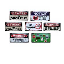 Beware of Wife  Metal Painting Signs Wall Bar Coffee Hotel Home Sticker Art Decor Cuadros Wholesale 30X15CM W-65
