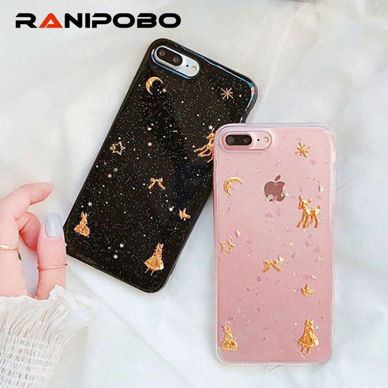 Модные золотые Фольга Bling олень Телефон чехол для iPhone X 6 6 S плюс 7 7 Plus 8 8 плюс блестящие девушка симпатичная мягкая TPU Ультра задняя крышка