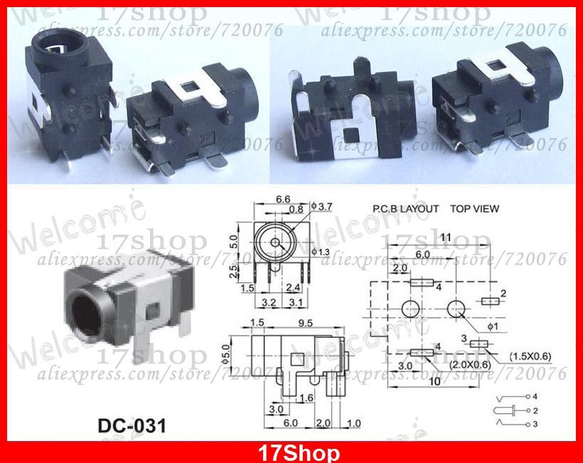 500 pièces 3.5mm X 1.3 MM DC prise jack DC-031 pour femelle SMD PCB chargeur fiche d'alimentation
