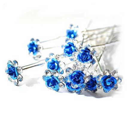 SAF-10pcs/Lot Mawar Bunga Crystal Rhinestone Pesta Pernikahan Pengantin Prom Rambut Pin Rambut Klip Aksesori Biru