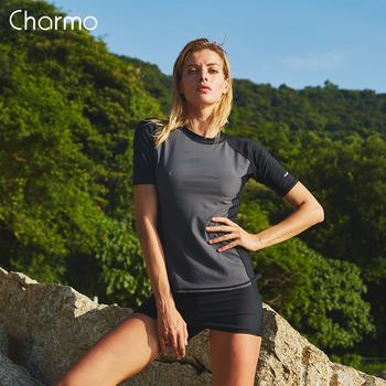 Charmo damskie koszulki z krótkim rękawem Rashguard stroje kąpielowe Surf Top UPF 50 + koszulka do biegania koszula rowerowa strój kąpielowy strój do surfingu tanie i dobre opinie Wysypka guards Pływać Poliester spandex WOMEN Drukuj 5032 Pasuje prawda na wymiar weź swój normalny rozmiar