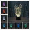 Moda creativa Pequeña 3D LLEVÓ La Lámpara Pequeña Lámpara de Noche Lámpara de Noche Lámpara de Regalo de Cumpleaños de Dibujos Animados de Mickey Mouse Usb Led 3d