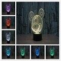 Moda criativa 3D Pequena Lâmpada LED Noite Pequena Lâmpada de Cabeceira Lâmpada Presente de Aniversário de Mickey Mouse Dos Desenhos Animados Usb Conduziu a Lâmpada 3d