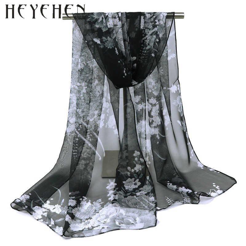 2017 Moda Chiffon de Seda Georgette Mulheres Foulard Cachecol Gradiente Flor Cor Bandana HY66 Summber Praia Sarong Xale Elegante