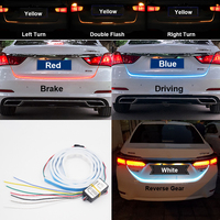 Ice Blue Red Yellow White LED Strip Lighting Rear Trunk Tail Light Dynamic Streamer Brake Turn