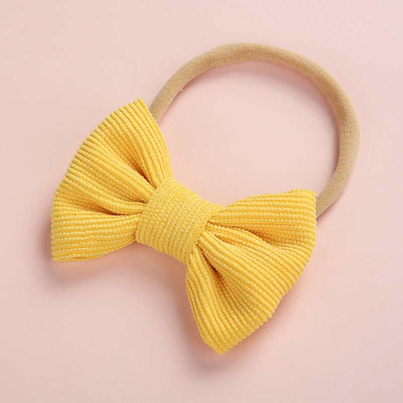 Image 2 - 20 pcs/lot, Corduroy Fabric Bow Nylon Headbands or hair clips, Photography Prop baby shower gift-in Hair Accessories from Mother & Kids