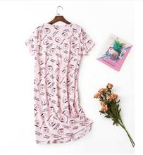 2019 summer new listing short-sleeved cartoon pajamas women cotton long paragraph nightdress home service ladies skirt NEW