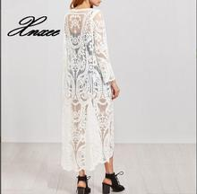 Women Blouses White Embroidered Sexy Mesh Long line Sleeve Beach Clothing Fashion Sun protection