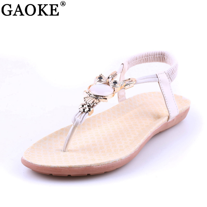 2018 Summer Flat Sandals Women Shoes New Luxury Owl Rhinestone Women Sandals Gladiator Bohemian Style Flip Flops Sandalias