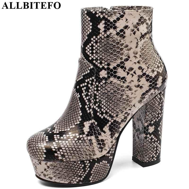 ALLBITEFO seksi yüksek topuklu kadın çizmeler yılan derisi yüksek topuklu kadın ayakkabıları yarım çizmeler kadınlar için martin çizmeler gece kulübü ayakkabı