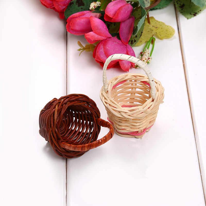 1 pc Mini Chá Cesta de Piquenique de Plástico Organizador De Armazenamento De Tecelagem Cesta de Frutas Rattan Caixa De Armazenamento De Cosméticos Cozinha Handwork
