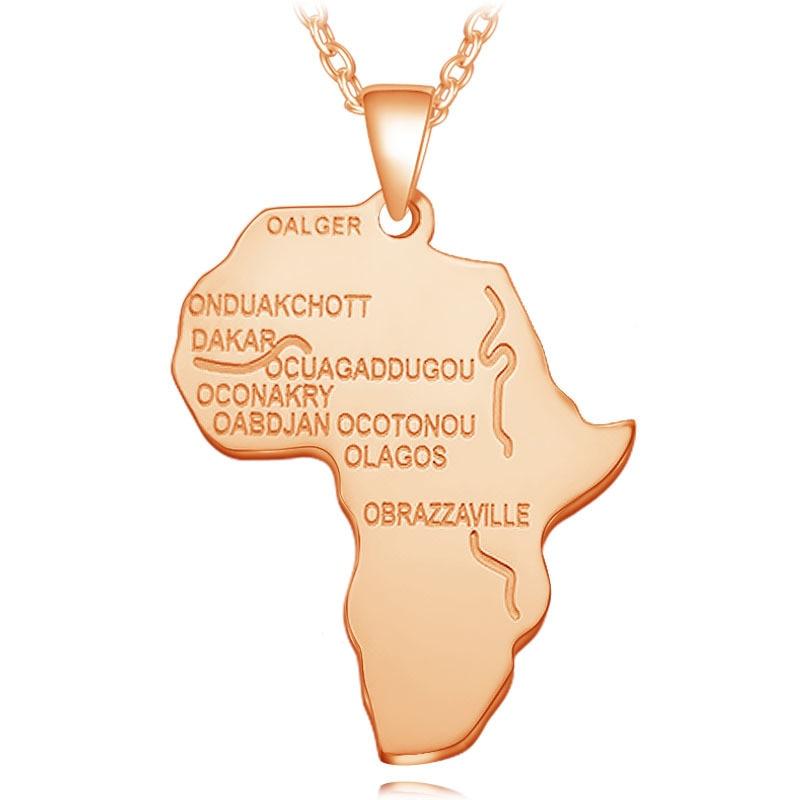 4 цвета Модная Африканская Карта Форма кулон ожерелье Женская мода ювелирные изделия персонализированный сплав металлическая серебряная с золотом цепь ожерелье s - Окраска металла: N026-4