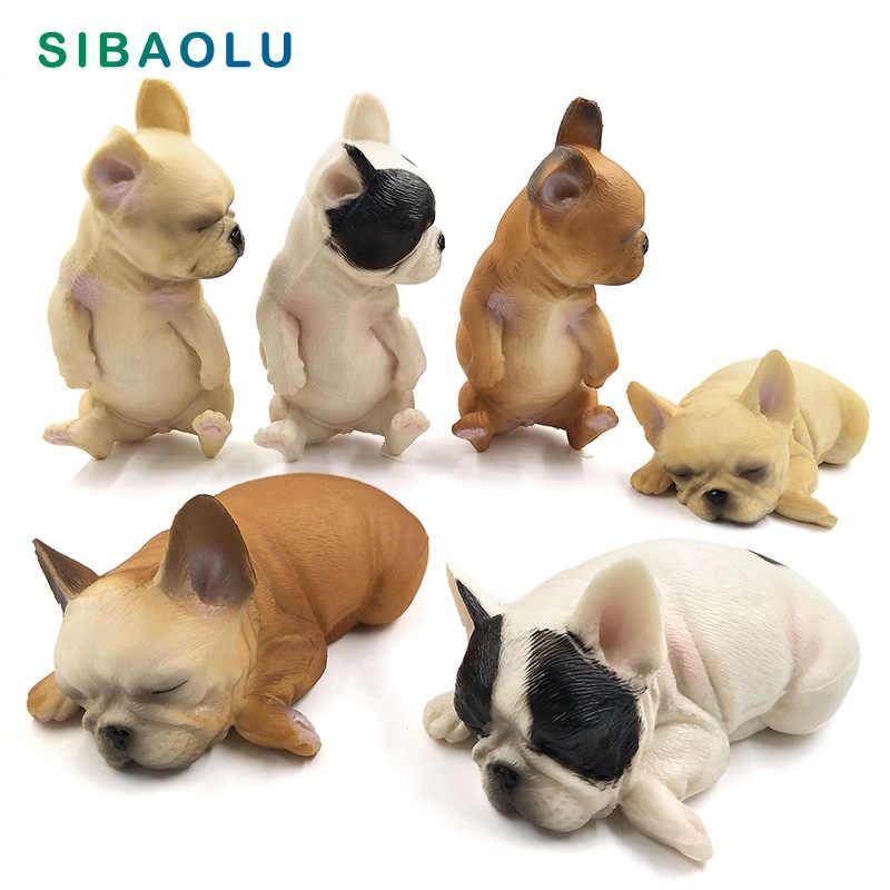 Simulação de filhote de Cachorro Pequeno cão Modelo Animal estatueta decoração de casa acessórios de decoração moderna Figura da estátua do jardim de fadas em miniatura