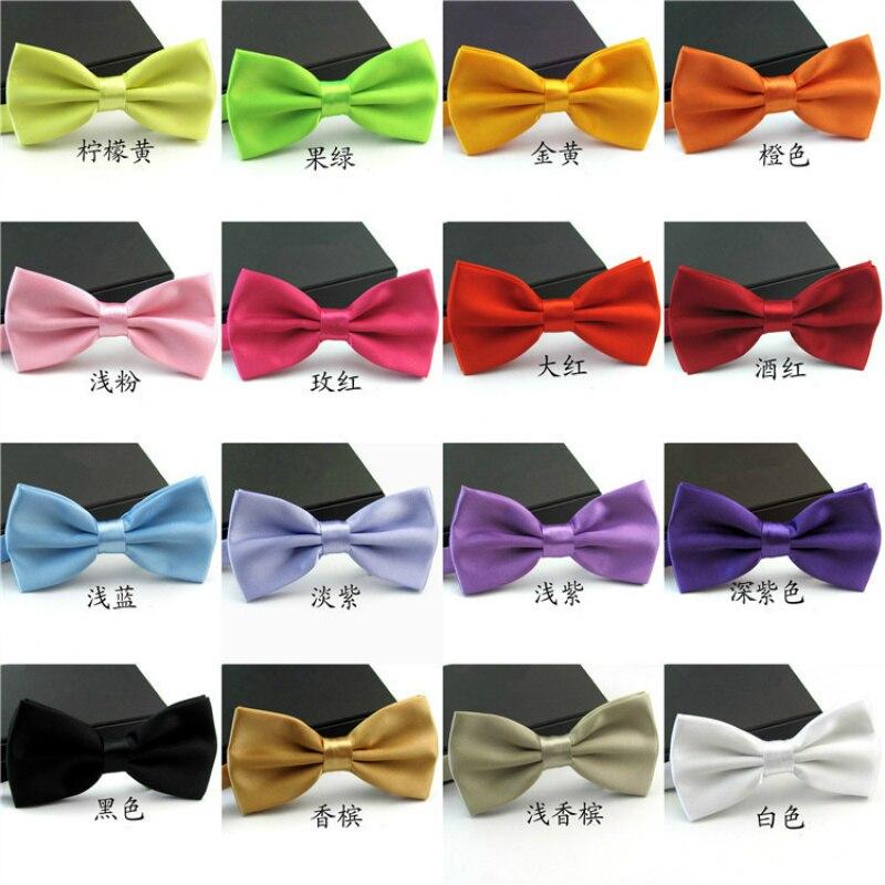 Fashion Bow Tie For Groom Men Black Blue Red Purple Solid Color Bowtie Wedding Adjustable Candy Cravat Gravata 12.5*6.5cm