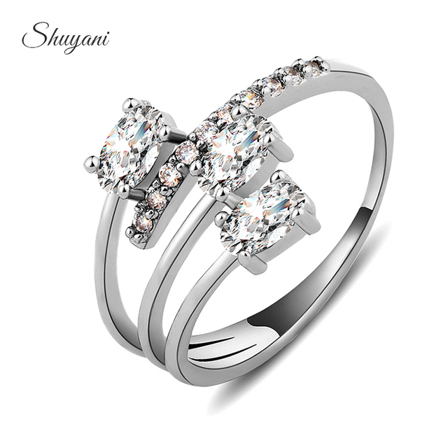 shuyani jewelry luxury zircon crystal wedding rings for women fashion adjustable crystal rings jewelry full size - Crystal Wedding Rings