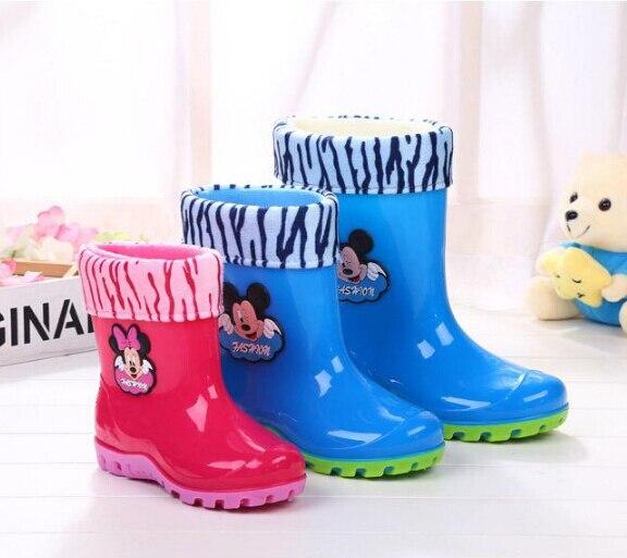 Размер 26-40 детская Дождь Сапоги милые Мальчики мультфильмов и Девушки скольжения Детская обувь, галоши водную обувь для Детей Резиновая Обувь Fr
