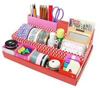 5x Red DIY Desktop Desk Table Organiser Storage box Stationery Makeup Box In Box