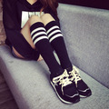 Spring Autumn Fashion Korean Style Striped Print Socks Colours Cotton Girls Socks Student Knee High Length Socks Wholesale