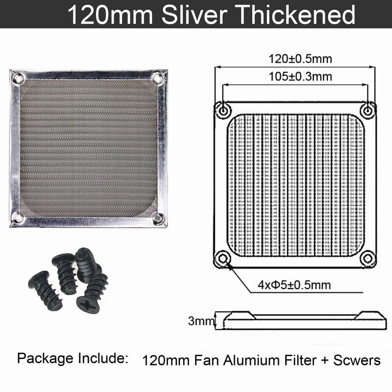 2 шт. Gdstime 60 мм, 80 мм, 92 мм 120 мм 140 мм пылезащищенный вентилятор фильтр Алюминий компьютер чехол сетка вентилятора Пылезащитный чехол 14 см на высоком каблуке 12 см, 9 см, 8 см, 6 м - Цвет лезвия: 12cm thicken Silver