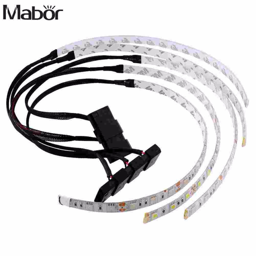 Mabor Waterproof 60CM Bright Flexible 5050 SMD 18 LED Caja de luz de tira para decoración de computadora