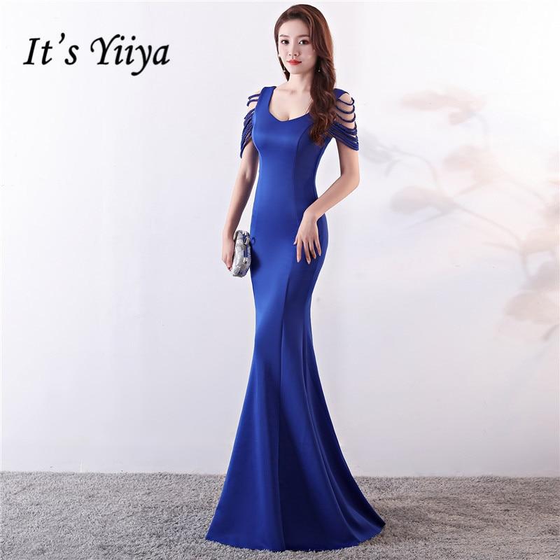 C'est Yiiya robe de soirée perles o-cou bleu Royal robes de fête sans manches étage-longueur fermeture éclair dos trompette robes de bal C129