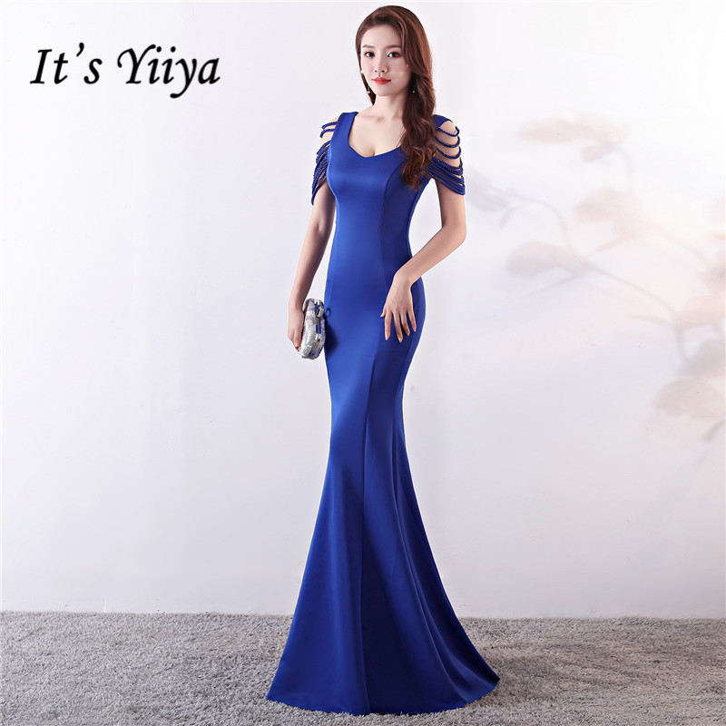 It's Yiiya   Evening     dress   Beading O-neck Royal blue Party Gowns Sleeveless Floor-length Zipper back trumpet Prom   dresses   C129