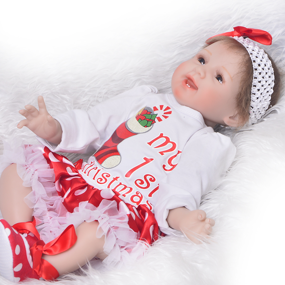 New Arrival 55 cm Reborn Baby Dolls Toy For Girl Christmas Gift Realistic Silicone Vinyl Newborn Dolls 22'' Alive Smile Bonecas new arrival full silicone vinyl baby dolls reborn girl 57 cm realistic alive new born bonecas 23 babies doll toy for children
