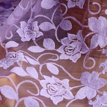 Fabulous Lace Fabric Flower Embroidered purple  Tulle Dress Bridal Veil Floral 23.64 Inches Wide 1 Yard