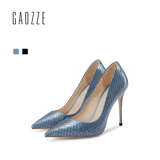 76a6a61dc62 US $215.43 |GAOZZE Blue Fashion Snakeskin Pointed Toe High Heels 10.5cm  Female Party Women Shoes 2018 Spring New Classic Women Pumps Shoes-in  Women's ...