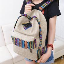 New Ethnic Women Simple Canvas Backpack Female Preppy Style Backpacks Lady Girl Student School Travel Laptop Bag Mochila Bolsas