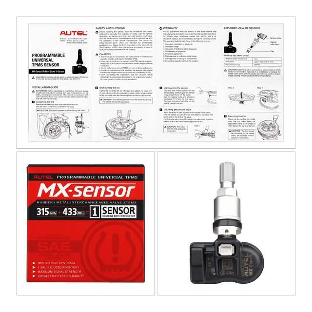 Autel MX Sensor 433MHZ/315MHZ obd ii Programmable Universal TPMS Sensor  Support Program With tire pressure Maxi TPMS pad TS601
