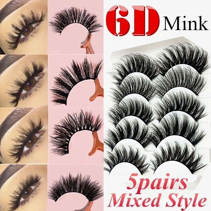 6D Mixed Style Mink Lashes Mink False Eyelashes Wispy Fluffy Natural Long Strip Cruelty Fake Eyelash Extension Supplies Makeup
