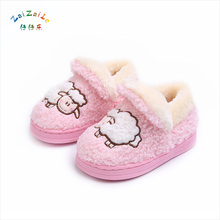 2017 winter children's warm shoes lambs thicker home bags with slippers villi snow cotton men and women shoes