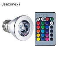 Lampadine цветная (rgb) Светодиодная лампа 3 W E27 E14 GU10 E26 GU5.3 B22 110 V 220 V 12 V MR16 GU 10 Е 14 потолочный локальный светильник remote 60 градусов jeazonexi