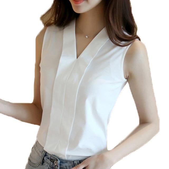 fc7c5a71b1 Nueva moda de ropa de oficina trabajo blusas tops de verano con cuello en V  sin