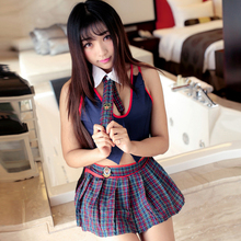 Sexy School Lingerie Erotic Women Costume With Tie Lattice Pleated Skirt Cosplay Youth Student Girl
