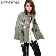 [Twotwinstyle] уличная куртка-пилот женщин основной пальто корейский заплаты Army Green ветровка Boyfriend Мода