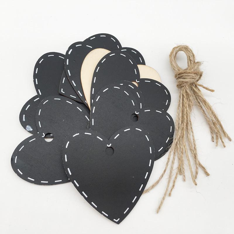 10pcs Mini Black Gift Tag Wood Tag Blackboard Heart Cloud Shape Blank Hang Black Tag Luggage Label Gift Wrapping Supplies
