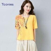 2018 Summer Fashion Harajuku T Shirt Female Floral Print Folk Custom Style Short Sleeve Tops Shirts