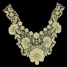 10 Pc 33*32.5cm Gold Line Neckline Applique Lace Trim Lace Fabric For Costume Sewing Applique Crafts Venise Lace High Quality