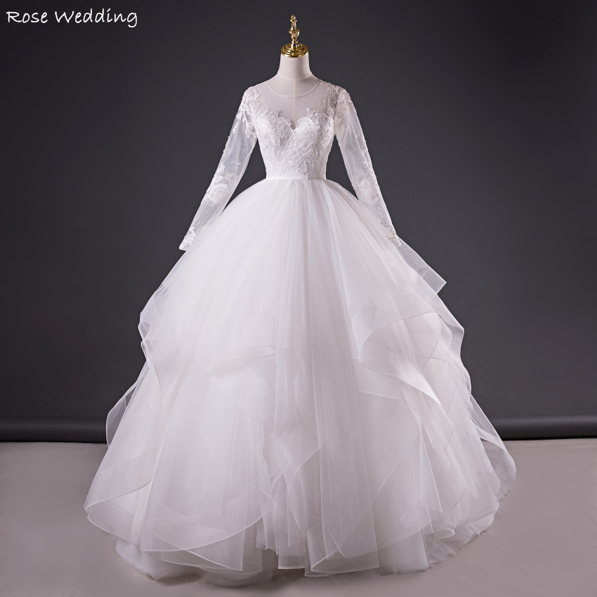 Real made white long sleeve soft tulle tiered ruffle ball for Tiered wedding dress with sleeves
