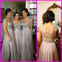 Fashion Cheap Beaded Lace Appliqued Formal Dresses Cap Sleeves Sheer Backless Long Silver Bridesmaid Dresses 2015
