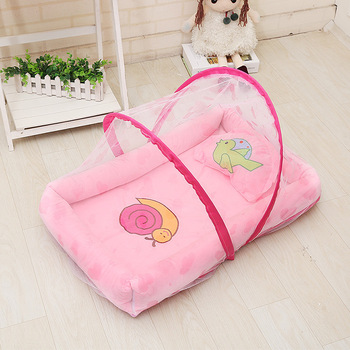 With netting portable baby foldable bed game cotton folding newborn bed with cover portable baby cot baby crib baby foldable crib travel portable newborn bed sleeping basket bassinet multifunctional portable baby crib with mosquito netting