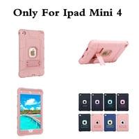 Luxe Rose Or Hybride Armure Cas Pour iPad mini4 Kids Safe antichoc Heavy Duty Silicone Housse Dur pour ipad mini 4 7.9''