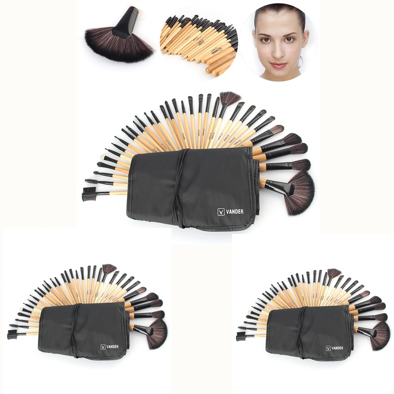 VANDER 3Lot/set 32pcs Makeup Brush Professional Cosmetic Kits Brushes Foundation Powder Blush Eyeliner pincel maquiagem w/ Bag bob cosmetic makeup powder w puff mirror ivory white 02
